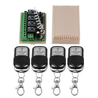 DC 12V 4CH Channels Wireless Remote Control Relay Switch 4Transceiver + 1 Receiver(Black)