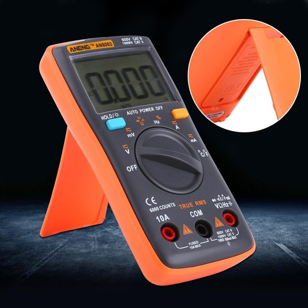 Digital Multimeter AC/DC Voltmeter Ammeter Temperature Ohm Meter LCD Display 6000 .