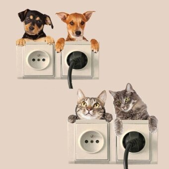DIY Funny Cute Cat Dog Switch Stickers Wall Stickers HomeDecoration Bedroom Small cat dog dog stickers for the switch - intl