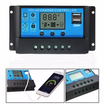 Dual USB 12V/24V Solar Panels Charge Controller Regulator 30A -intl