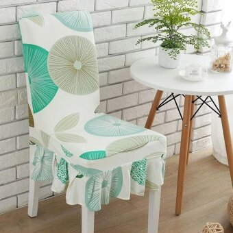 Harga Elegant Flower Elastic Stretch Chair Seat Cover With Skirt Hem Dining Room Home Wedding Decor - intl