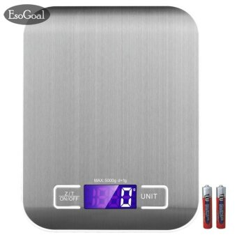 Harga EsoGoal Digital Kitchen Scale เครื่องชั่งน้ำหนักอาหาร Food Scale, 11 lb 5 kg, Black, Stainless Steel - intl