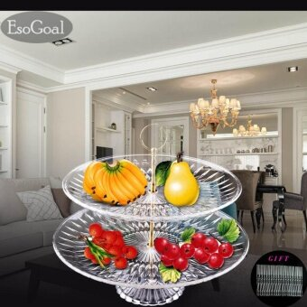EsoGoal Fruit Plate 2 Tier Acrylic Plate for Fruits Cakes Desserts Candy Buffet Stand for Home & Party with Free 50pcs Fruit Forks - intl