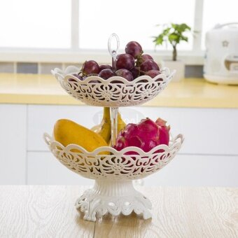 EsoGoal Fruit Plate 2 Tier Hollow Plate for Fruits Cakes DessertsCandy Buffet Stand for Home & Party - intl - 5