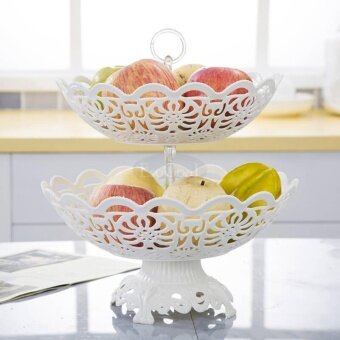 EsoGoal Fruit Plate 2 Tier Hollow Plate for Fruits Cakes DessertsCandy Buffet Stand for Home & Party - intl - 2