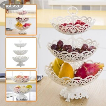 EsoGoal Fruit Plate 3 Tier Hollow Plate for Fruits Cakes Desserts Candy Buffet Stand for Home & Party - intl
