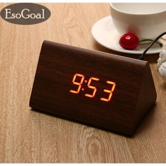 EsoGoal power Multi-function Wooden LED Alarm Clock with Temperature display ,Triple intelligent alarm, Sound-control screen - intl