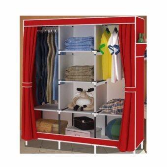 ETC Wardrobe ตู้เสื้อผ้า 3 บล็อค พร้อมชั้นวางของ 4 ชั้น(สีแดง) - ไซส์ใหญ่ รีวิว