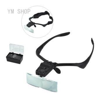 Fashion 5 Adjustable Lens LED Illuminated Headband Glasses BracketMagnifie แว่นตาแว่นขยาย