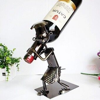 Fashion metal chef liquor wine rack crafts dining table red wine bottle home bar wine holder hanging display rack - intl
