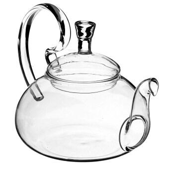 ราคา Filter Transparent Glass Flower Tealeaf Teapot Heat Resistant Infuser 600ml