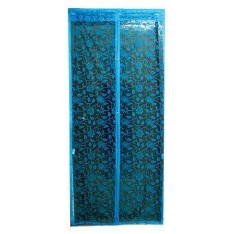 Fortunestar ม่านประตูแม่เหล็กกันยุง ลายดอกไม้ (สีฟ้า)