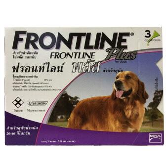 Frontline Plus for dogs ยาหยอดกำจัดเห็บ หมัด สุนัข 20-40kg บรรจุ 3 หลอด ( 1 box )