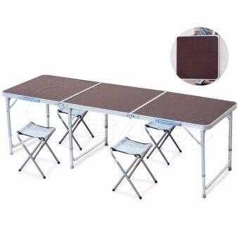 ต้องการขายด่วน Getzhop โต๊ะตั้งแคมป์ ชุดโต๊ะปิคนิคพับได้ โต๊ะอลูมิเนียมพร้อมเก้าอี้นั่ง(สีขาว) 4 ตัว (สีแดง)(Red)