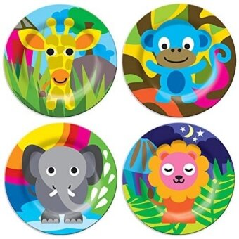 GPL/ French Bull - BPA Free Kids Dinner Set - 8-Inch Melamine Kids Plate Set - Jungle, Set of 4/ship from USA - intl