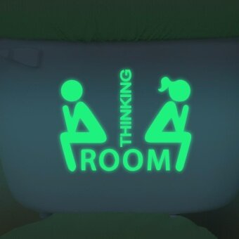 Harga Guide Toilet Wall Sticker Night Light Room Thinking FluorescenceDecoration - intl