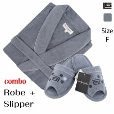 GuyLaroche Bathroom Collections (Robe+Slipper Free Size )  GREY