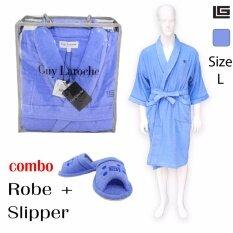 GuyLaroche Bathroom Collections (Robe+Slipper size L)  BLUE