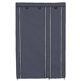 Hakone ตู้เสื้อผ้า 2 บล๊อค พร้อมชั้นวางของ 5 ชั้น มัลติฟังก์ชั่น(สีเทา) ลาซาด้า
