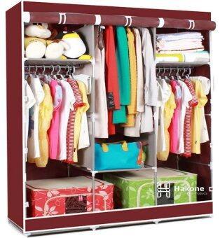 Hakone ตู้เสื้อผ้า 3 บล็อค สไตล์ญี่ปุ่น สีแดงเลือดหมู