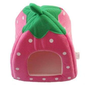 Hang-Qiao New Soft Strawberry Pet Dog Cat Rabbit Bed House WarmCushion Pink S
