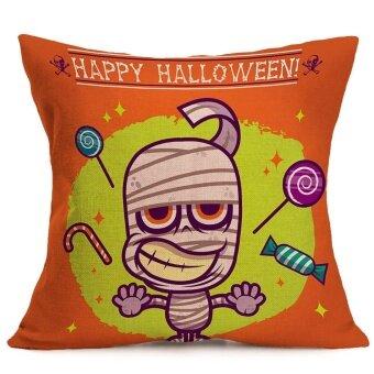 Happy Halloween Pillow Cases Linen Sofa Cushion Cover Home Decor C - intl