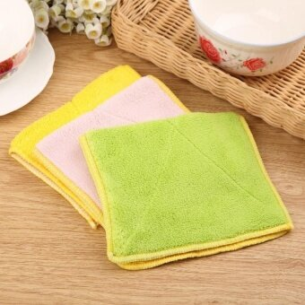 HappyLife (5Pcs)Fiberglass Double-Sided Water Does Not Lose HairRag Kitchenclean Thick Wash Towel