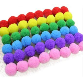 Harga HengSong 60pcs Kids DIY Plush Ball 20mm Fur Ball Pompon For HomeDecor Flowers Craft Multicolor