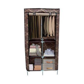HHsociety ตู้เสื้อผ้า 4 ชั้น พร้อมผ้าคลุมลายไทยประยุกต์ดอกไม้สีน้ำตาล รุ่น 2886-2-4