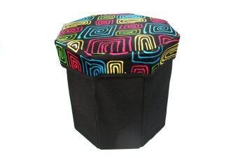 รีวิวพันทิป HHsociety เก้าอี้สตูล 8 เหลี่ยม ลายกราฟฟิก - สีดำ