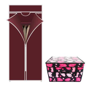 HHsociety ตู้เสื้อผ้า Quality Wardrobe ซิปเดียว –สีแดง+กระเป๋าจัดเก็บของอเนกประสงค์ ลาย Modern Heart - สีชมพู