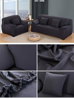ขายด่วน Home Living Living Rooms Sets High Quality Store New FashionL-Shape Textile Spandex 2 Seaters Sofa Cover Furniture ProtectorCouch Slipcover Home Decoration Black - intl