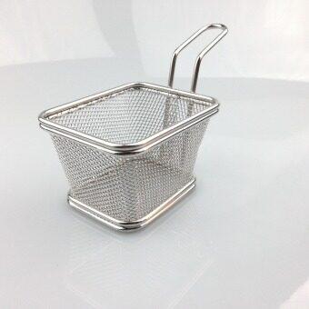 Hot Sale Chips Mini Fry Baskets Stainless Steel Fryer Basket Strainer Serving Food Presentation Cooking Tool French Fries Basket - intl - 4