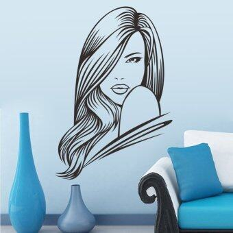 Harga Sexy Girl Hair Spa Beauty Salon Wall Stickers Vinyl Barbershop Wall Decals Beauty Girls Home Decoration Wall Mural (Intl)