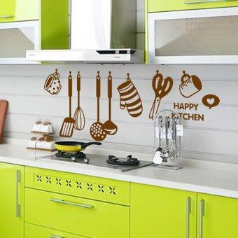 Harga ZOOYOO Cute Kitchen Tools Pattern Wall Stickers DIY Removable Art Vinyl Quote Wall Sticker Decal Mural Home Room Decor