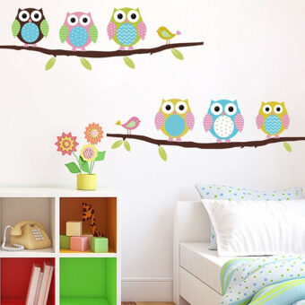 Harga YBC Cartoon Cute Six Owl on the Tree Wall Stickers Art Decor Mural Kid Room Decal - intl