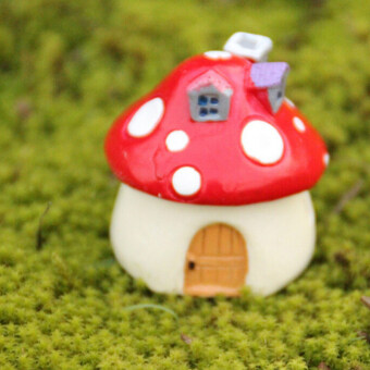 Harga Buytra Garden Ornament Mushroom House Resin Figurine