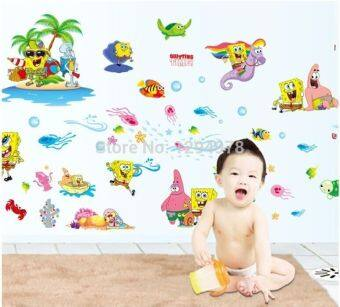 Harga Hot Sell SpongBob Kids Favorite DIY Removable Wall Sticker Kid Rooms Bathroom living room bedroom Home Decor Mural Decal DF9909 - intl