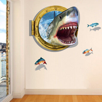 Harga YingWei 3D Porthole Ocean Shark Removable Wall Sticker Home Decor Decal Art Mural DIY