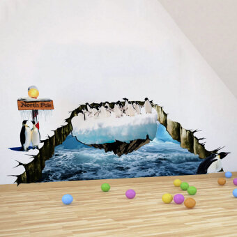 Harga MC North Pole Penguins 3D Wall Sticker Wallpaper Mural Decal Home Decal - intl