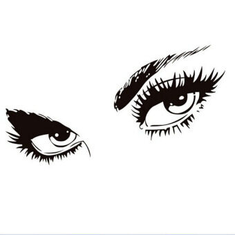 Harga Removable Female Eyes Art Wall Sticker Decal Mural Home Room Decor DIY (Black)