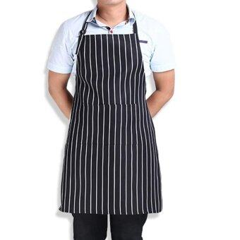 Harga Stripe Bib Apron with 2 Pockets Chef Waiter Kitchen Cook New Tool