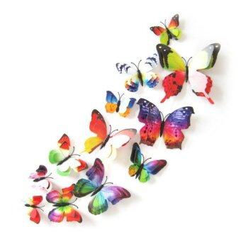 Harga Coconie 12x 3D Butterfly Wall Sticker Fridge Magnet Room Decor Decal Applique Multicolor