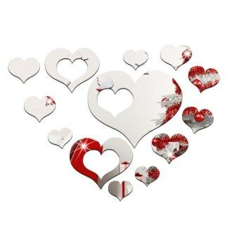 Harga Yika 16pcs Acrylic Crystal Love Heart Wall Sticker (Silver)