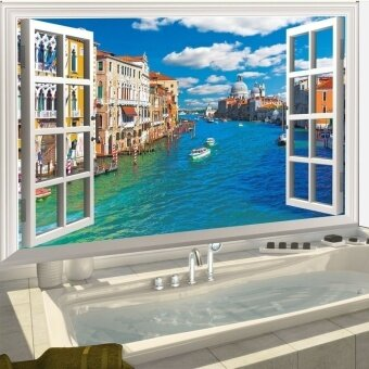 Harga Italy Venice 3D Window Removable Wall Art Sticker Vinyl Mural Decals Home Decor (Color: Multicolor)