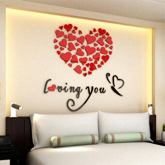 Harga Lovely Mirror Hearts Home 3D Acrylic Wall Stickers Decor DIY Decal Removable Set Red - intl