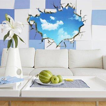 Harga Sky 3D Broken Wall Mural Removable Wall Sticker Art Vinyl Decal Room Decor - intl