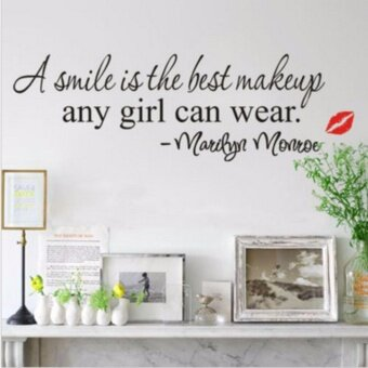 Harga Smile Makeup Marilyn Monroe Quote Vinyl Wall Stickers Art Mural Home Decor Decal - intl