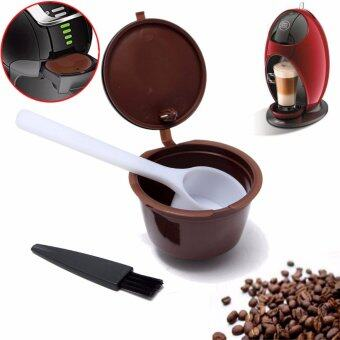 Harga Reusable Coffee Capsule Cup+Plastic Spoon+Cleaning Brush For Dolce Gusto Refill - intl