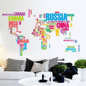 Harga World Map Letter Quote Removable Vinyl Decal Art Mural Wall Stickers Home Decor